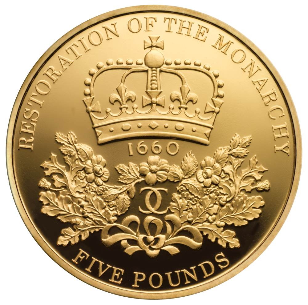Gold Five Pound Restoration Of The Monarchy Coin With Free Insured Next Day Delivery From 163 1 846