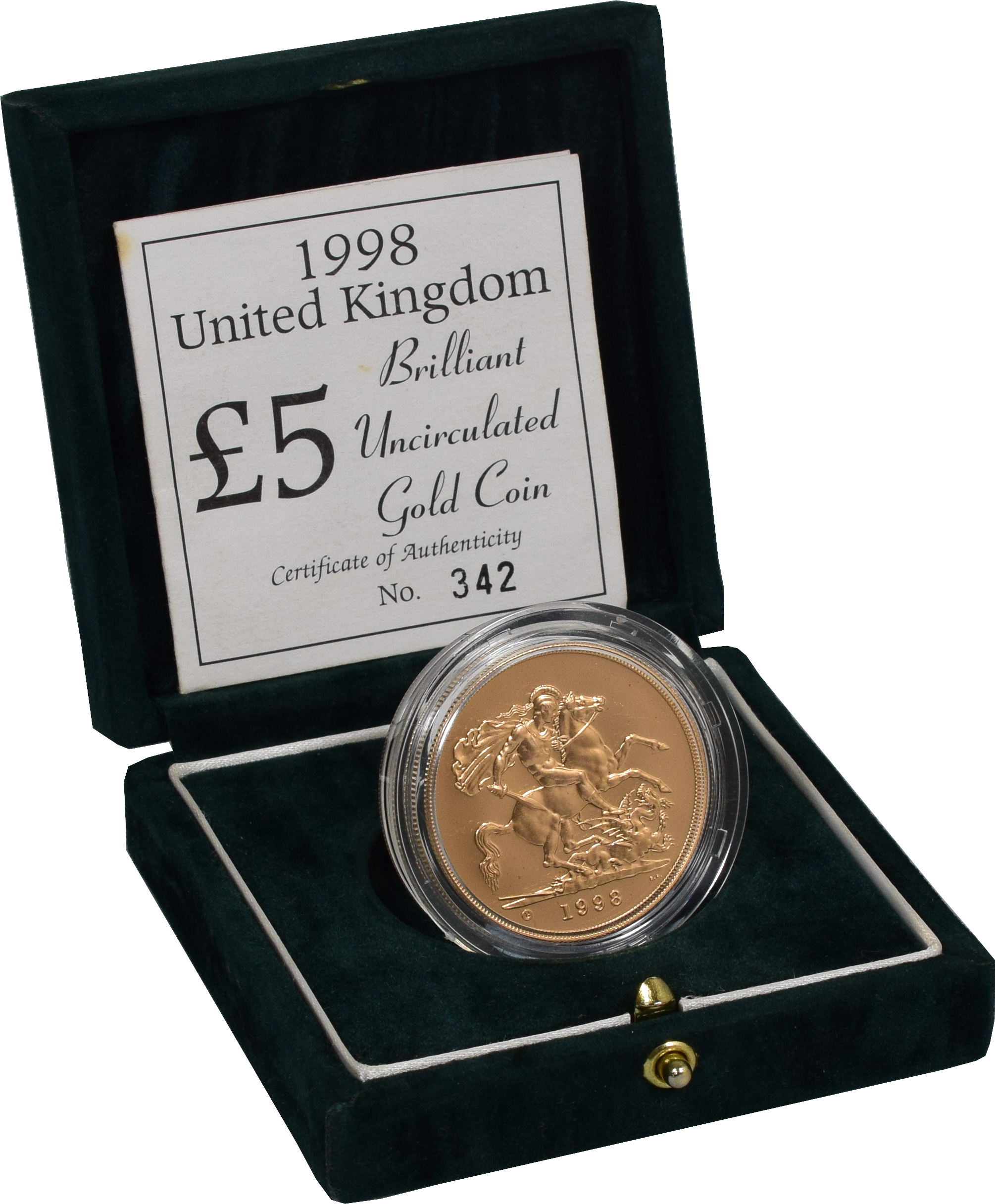 1998 Brilliant Uncirculated Gold Five Pound Coin (Quintuple Sovereign)