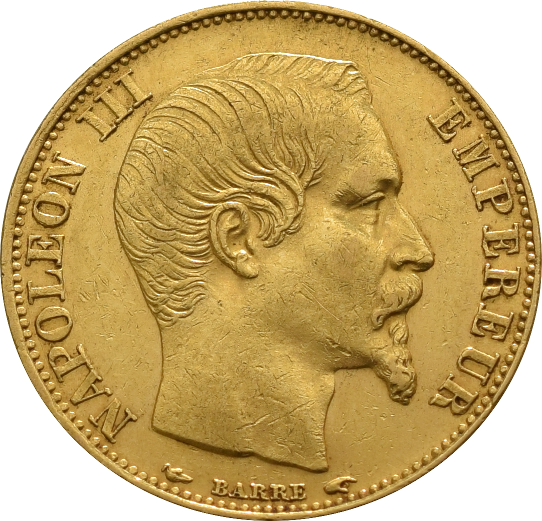 20 French Francs - Napoleon III Bare Head