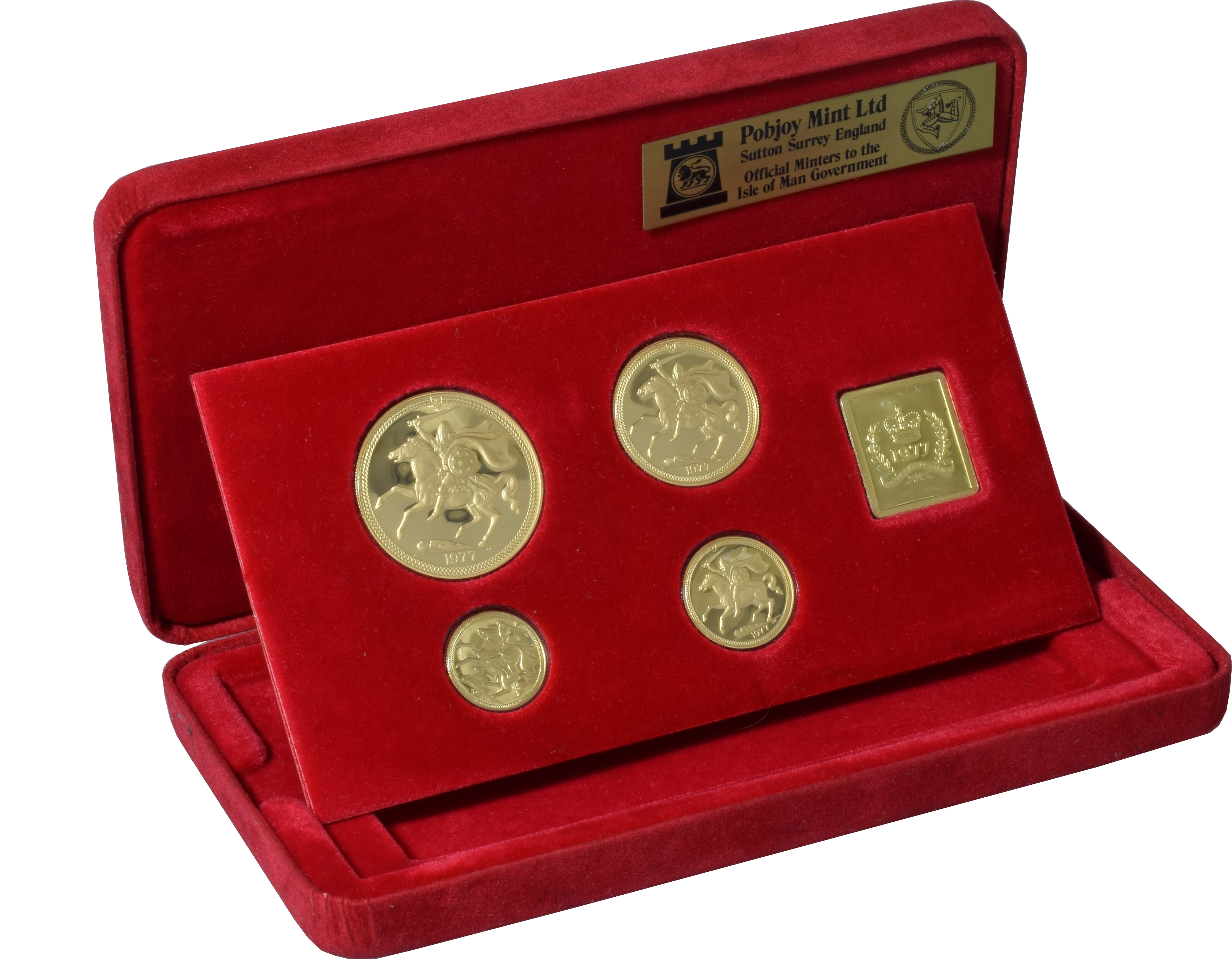 1977  Isle of Man Gold Proof Sovereign Four Coin Set