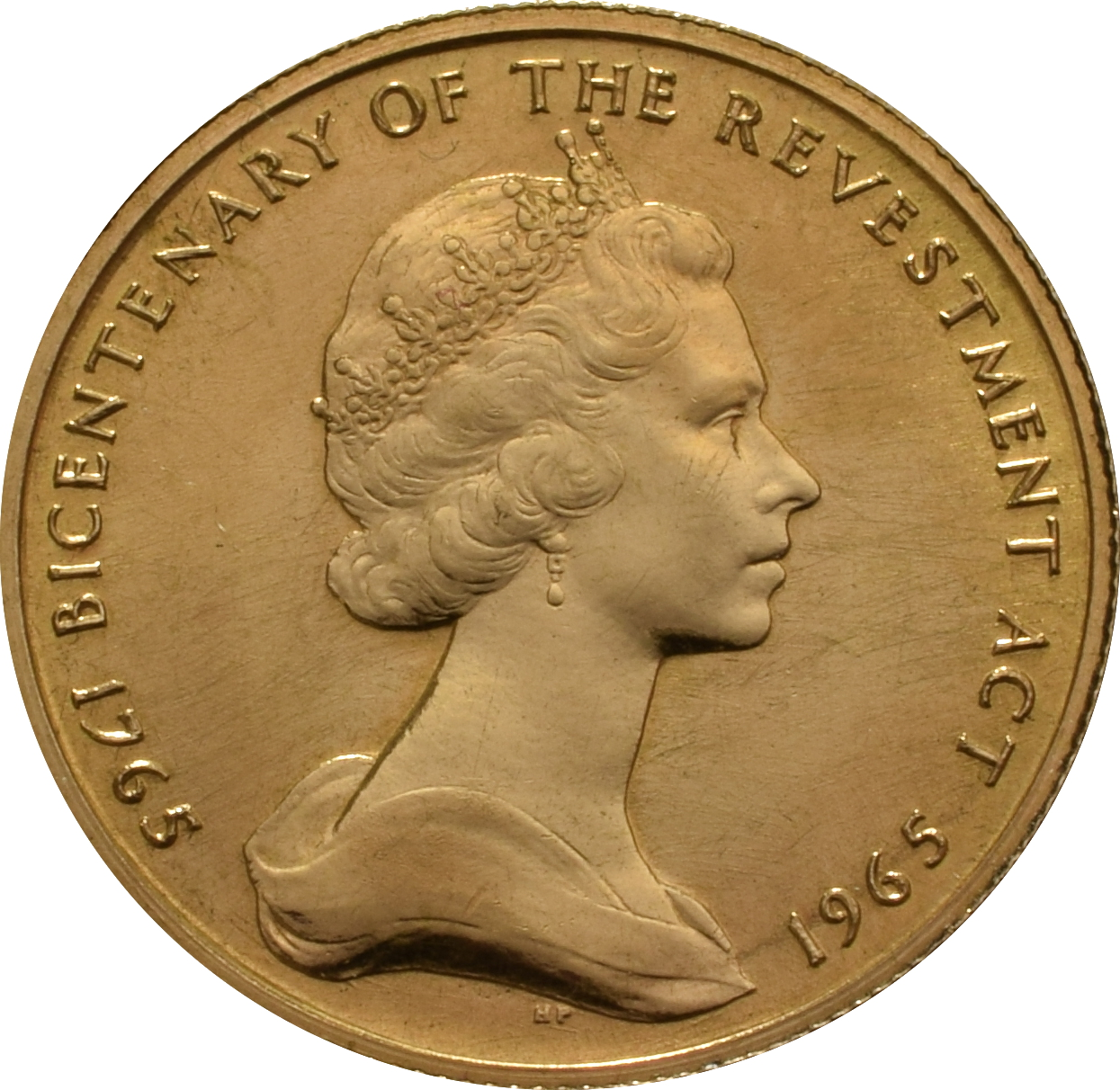 22ct 1965 Isle Of Man Gold Half Sovereign Coin Bicentenary