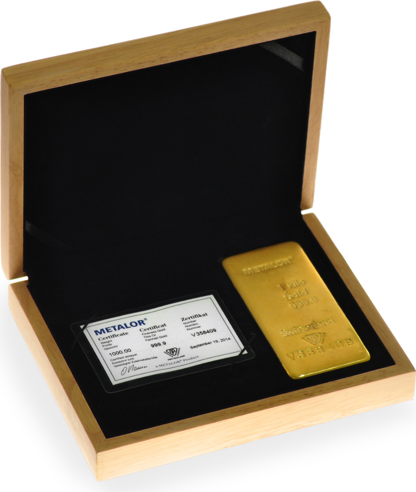 Gift Box Gold : Metalor kilo gold bullion bar in gift box ?