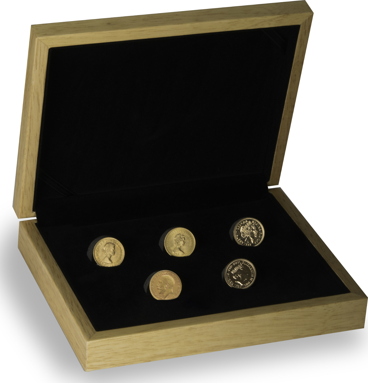5 x Gold Sovereign Portrait Set Gift Boxed
