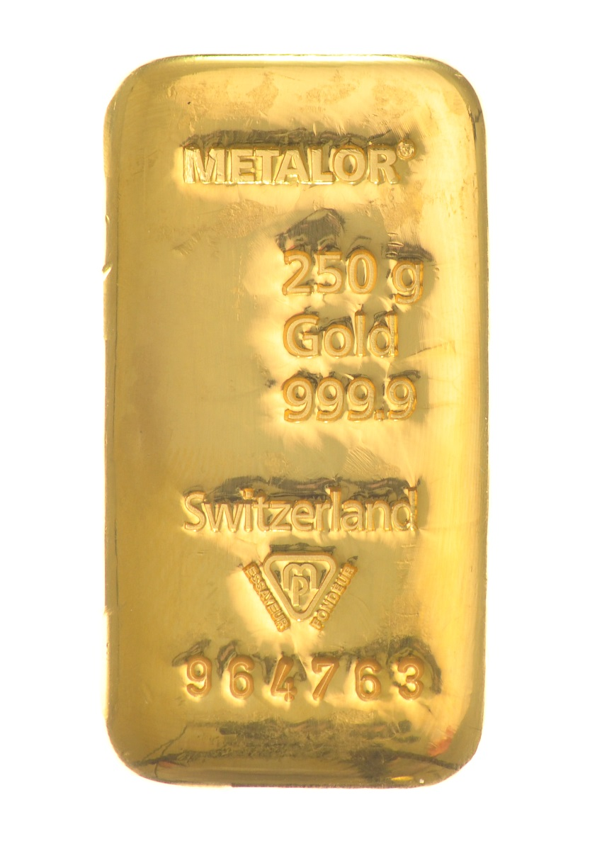 250g Metalor Gold Bar Bullionbypost From 163 8 037