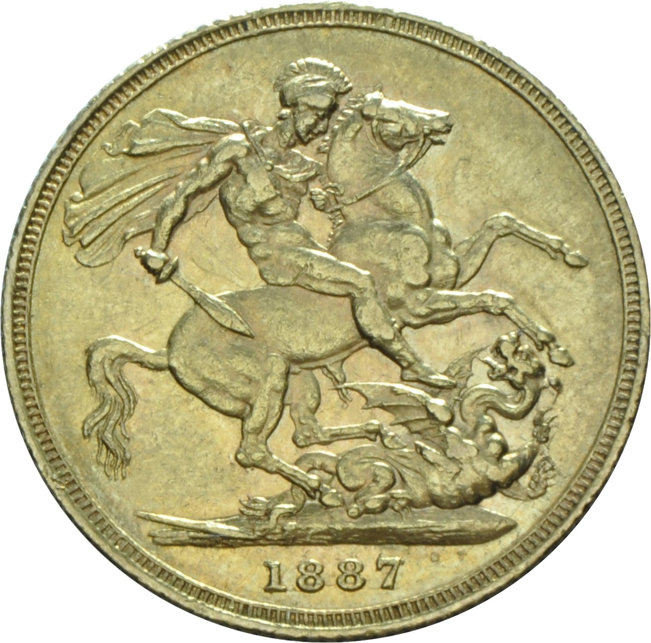 1887 Gold Sovereign - Victoria Young Head - M