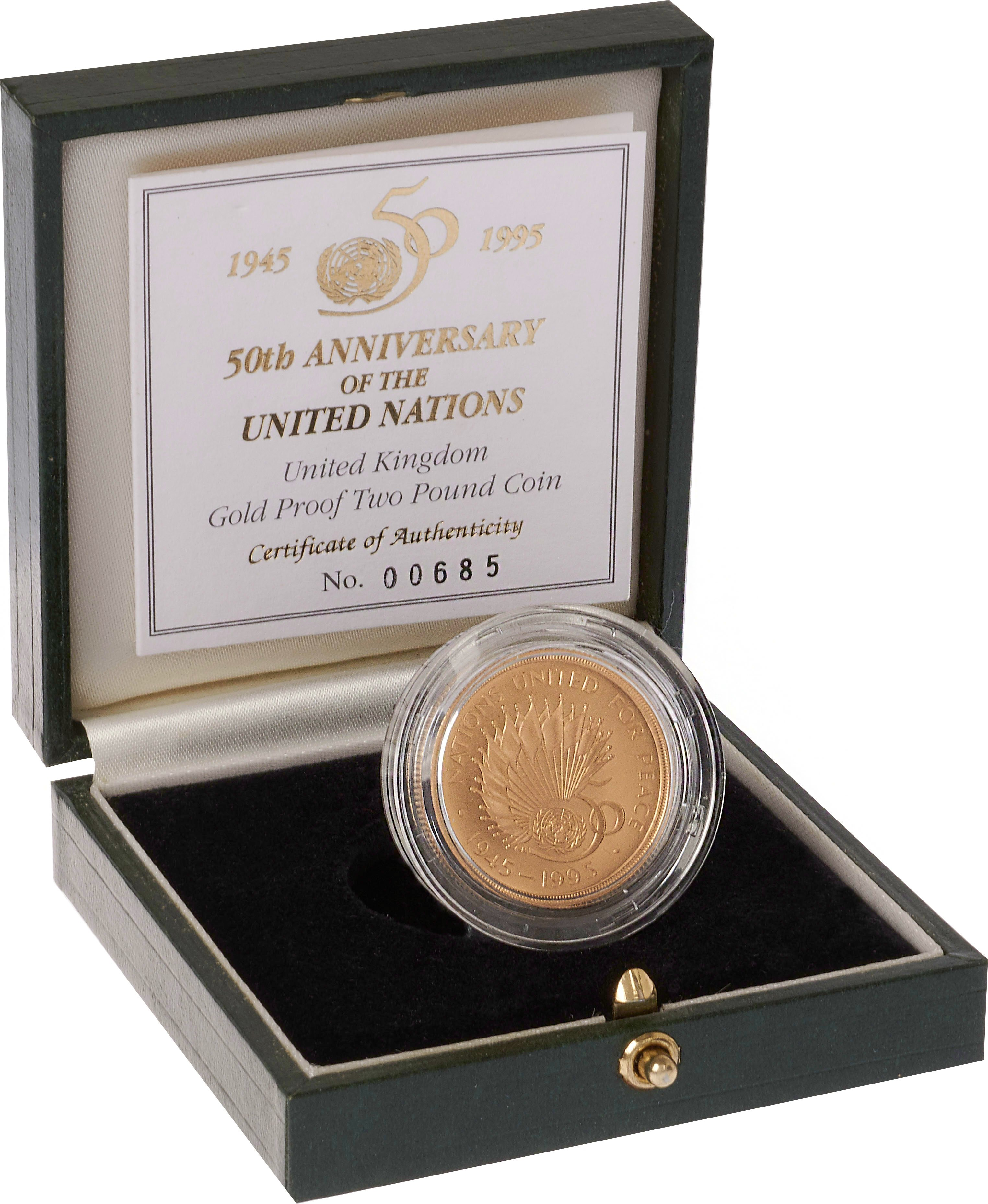 1995 £2 Two Pound Proof Gold Coin: United Nations 50th Anniversary Boxed