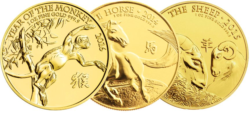 1oz Royal Mint Lunar Beasts Series £100 Gold Coins