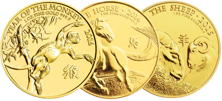 1oz Royal Mint Lunar Beasts Series £100 Gold Coins