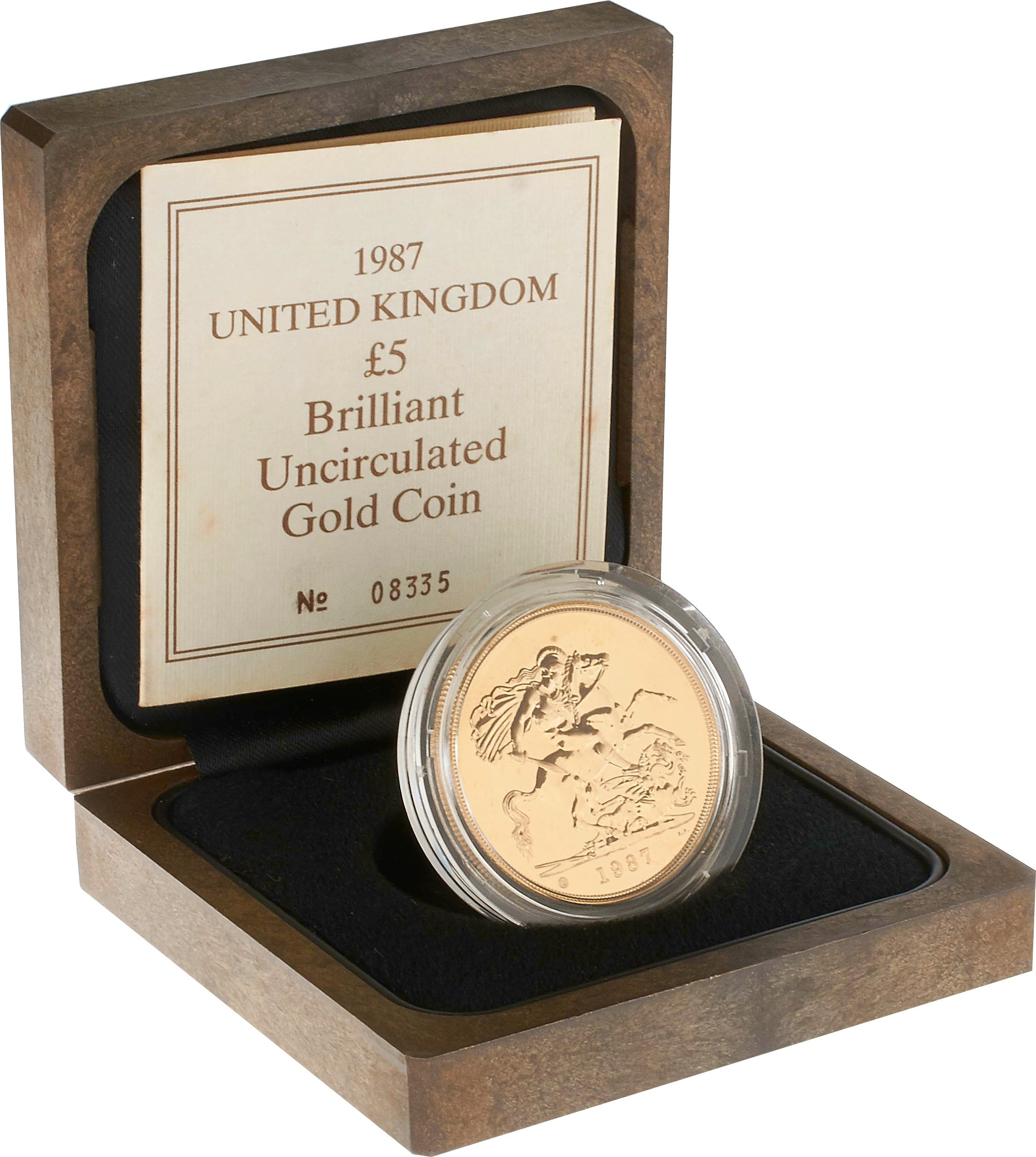 Brilliant Uncirculated Gold 1987  Five Pound Sovereign