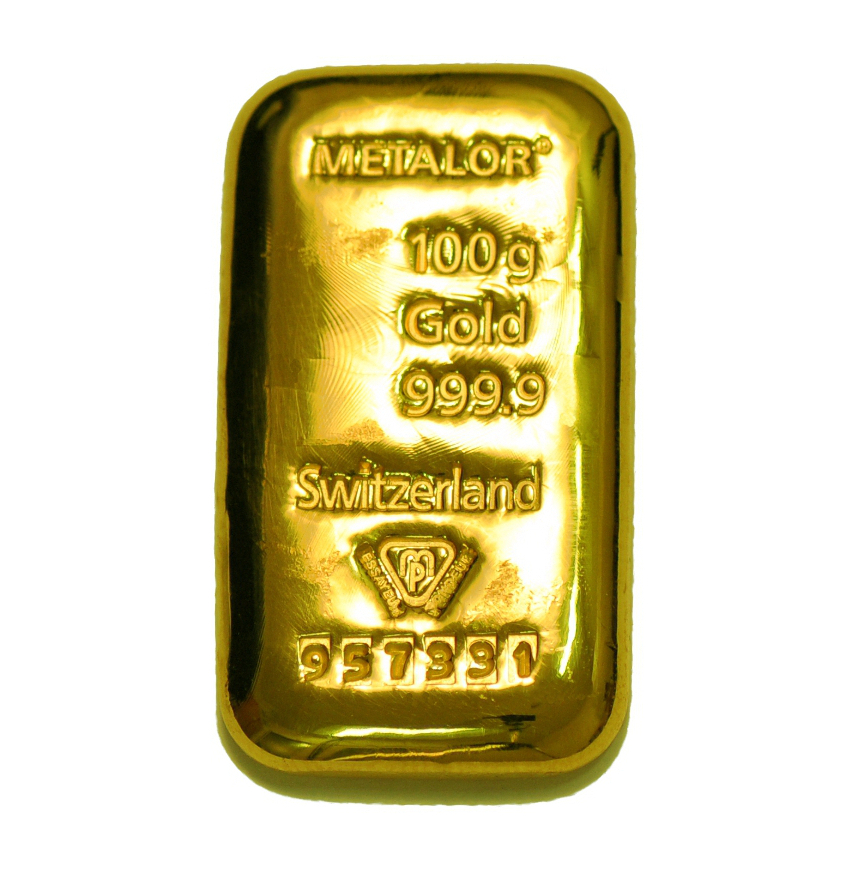 Metalor 100g Gold Bars Bullionbypost From 163 3 248
