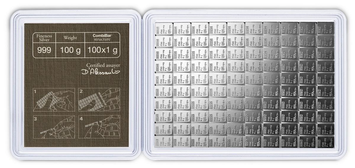 100 x 1g Silver CombiBar