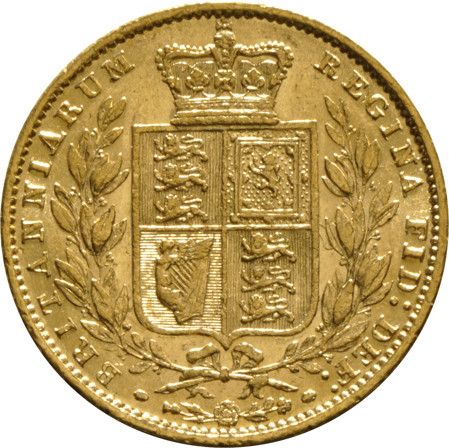 1858 Gold Sovereign Victoria Young Head Shield Back