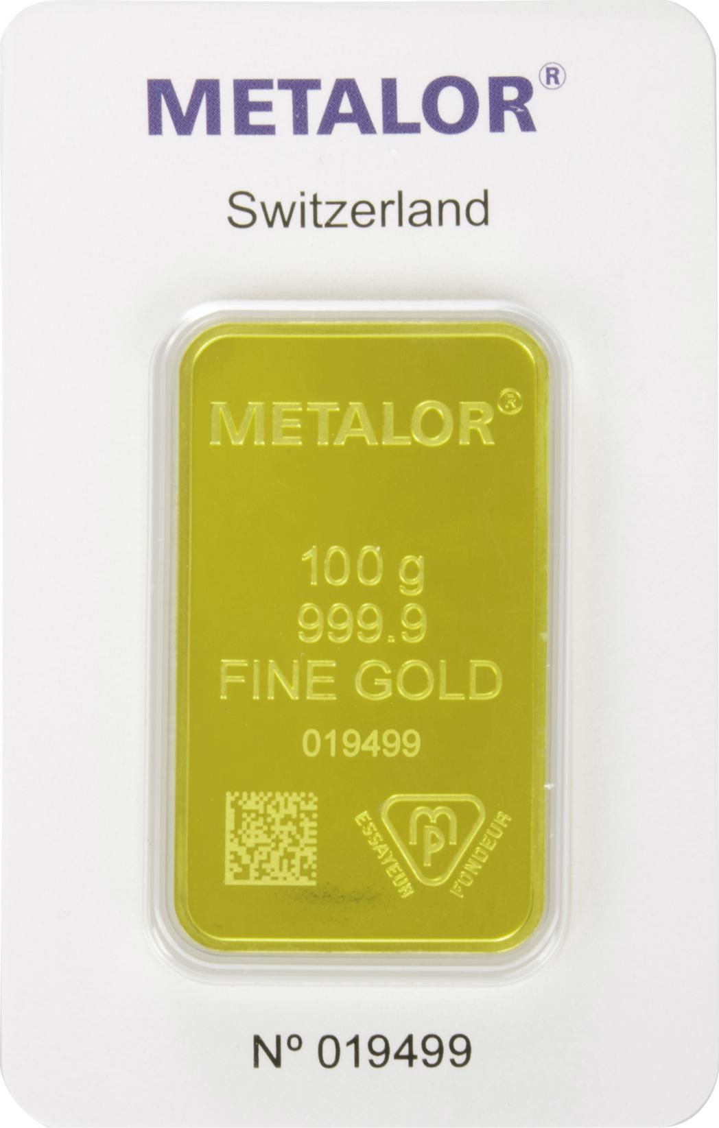 Minted Metalor 100 Gram Gold Bar