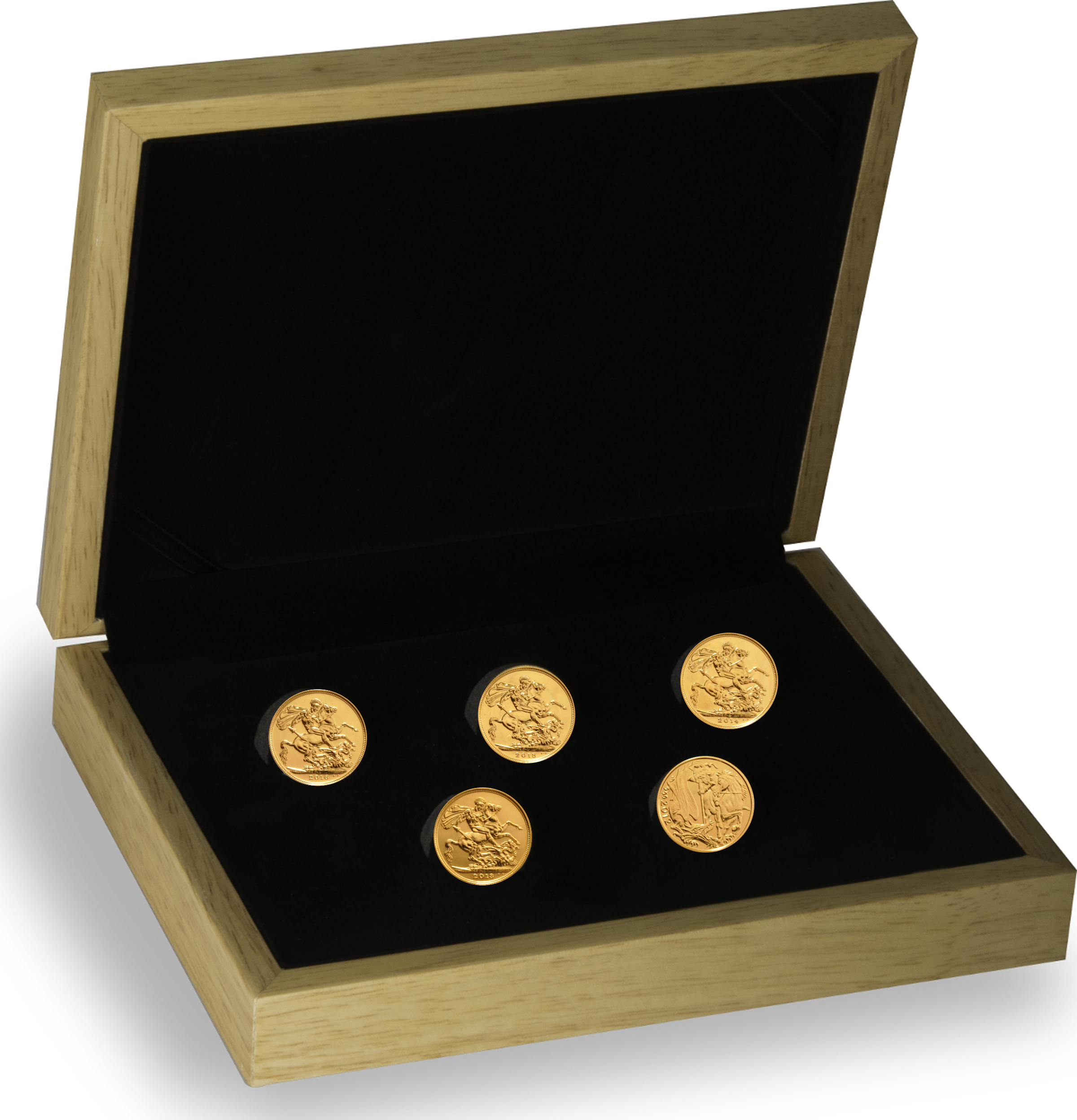 5 x Gold Sovereign years 2016 - 2012 in a gift box