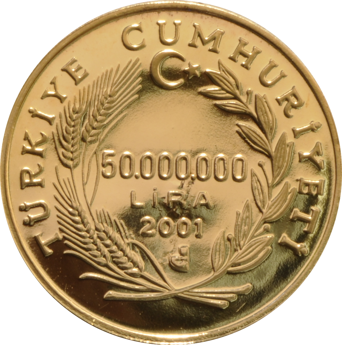 2001 Turkish 50 Lira Gold Coin 163 423