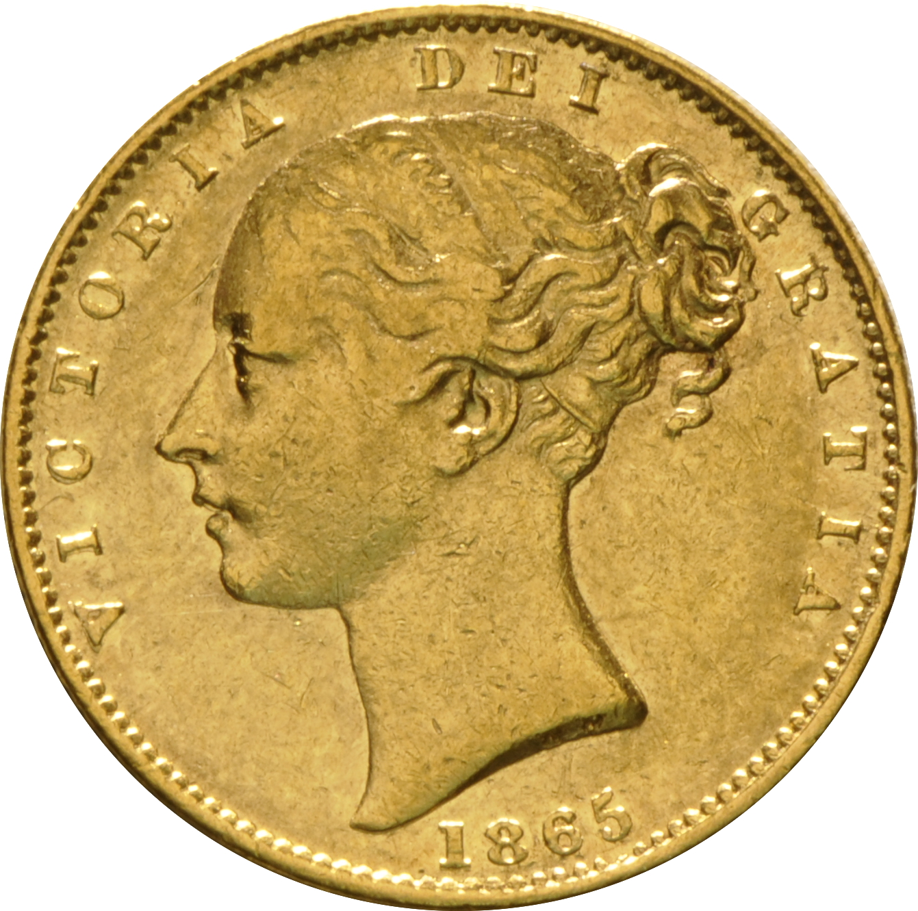 1865 Gold Sovereign Victoria Young Head Shield Back