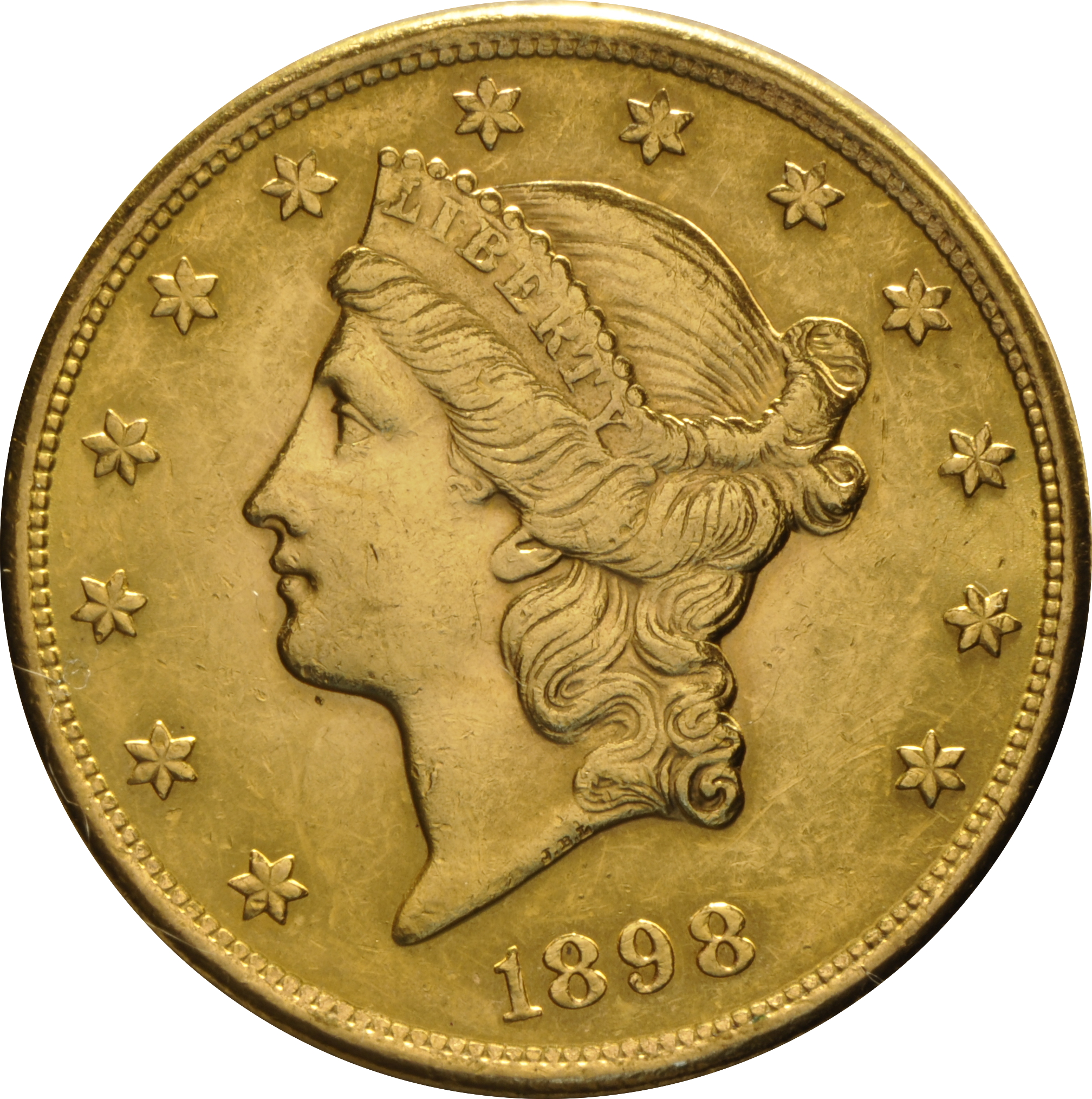 1898 $20 Double Eagle Liberty Head Gold Coin, San Francisco