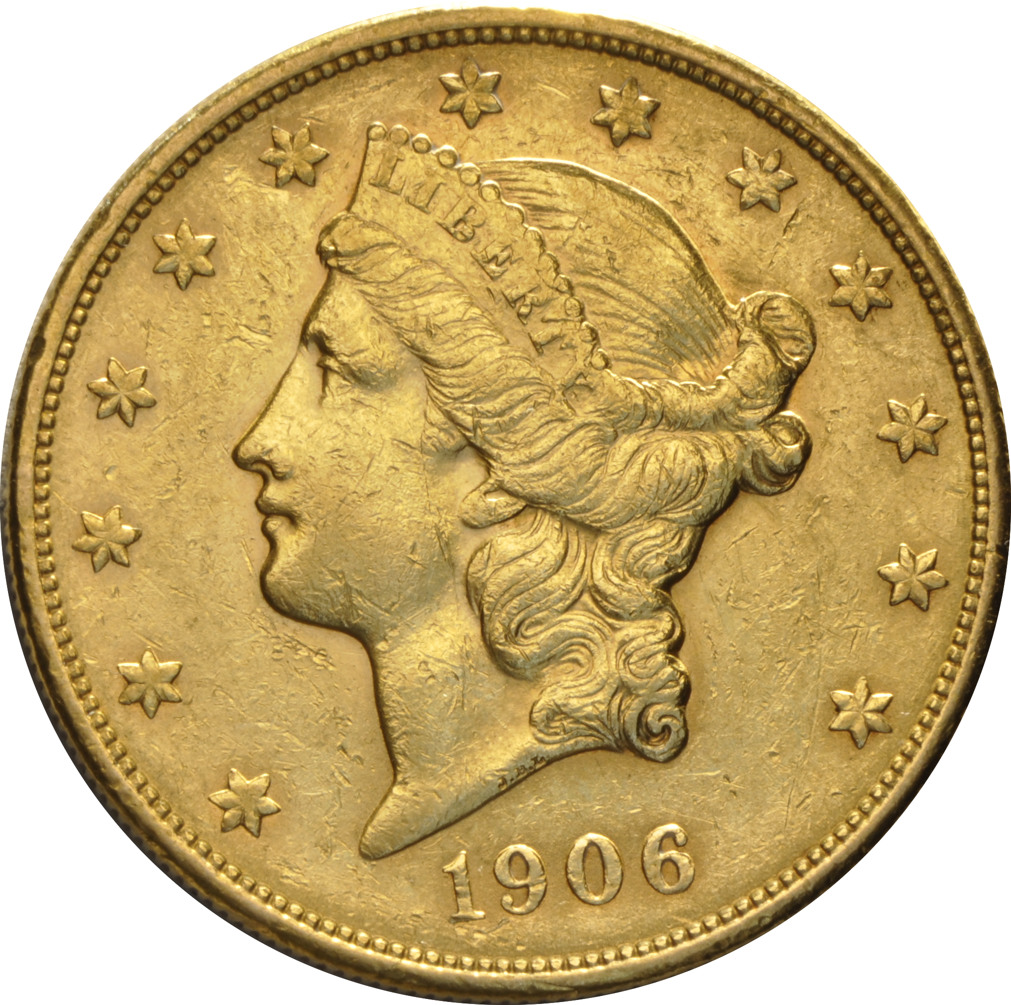 1906 20 Double Eagle Liberty Head Gold Coin San