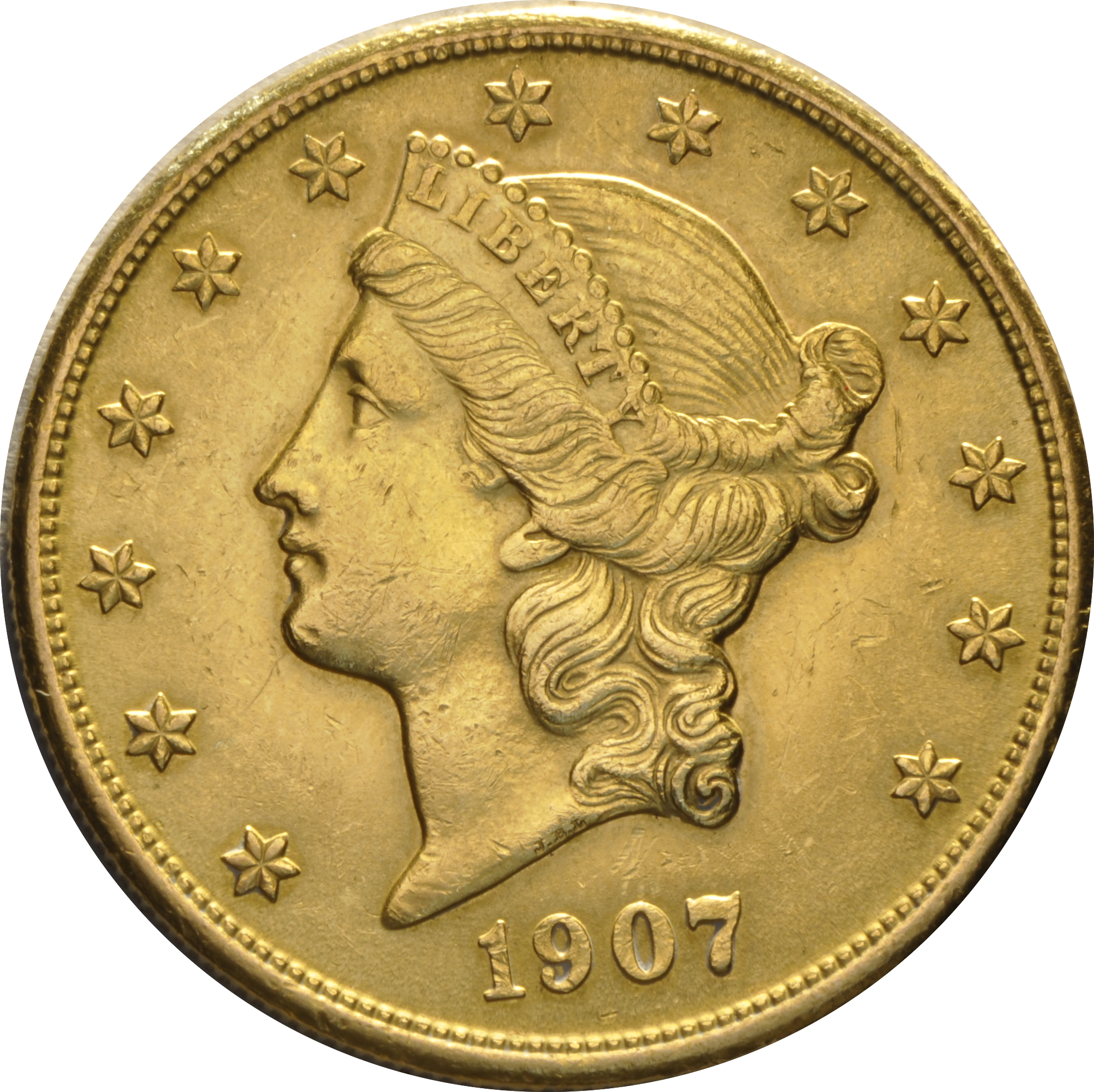 1907 $20 Double Eagle Liberty Head Gold Coin, San Francisco