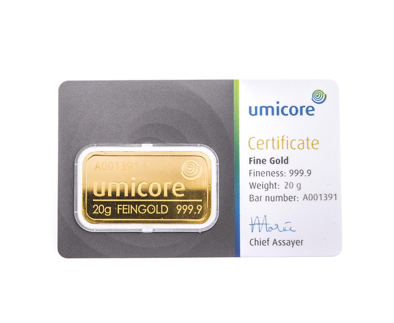 20g Umicore Gold Bars Bullionbypost From 163 671