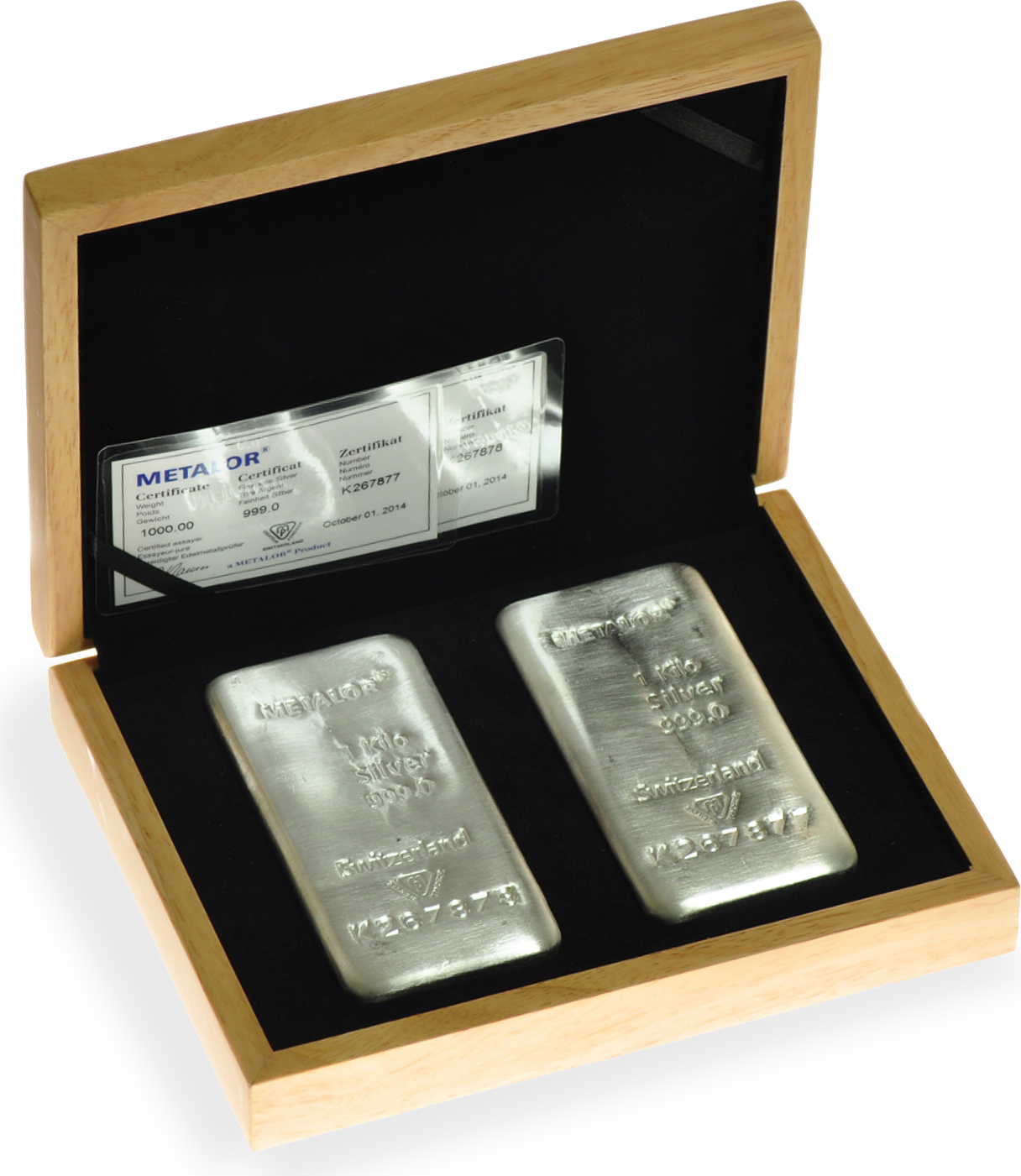 Large Oak Gift Box 2 X Metalor 1kg Gold Or Silver Bars