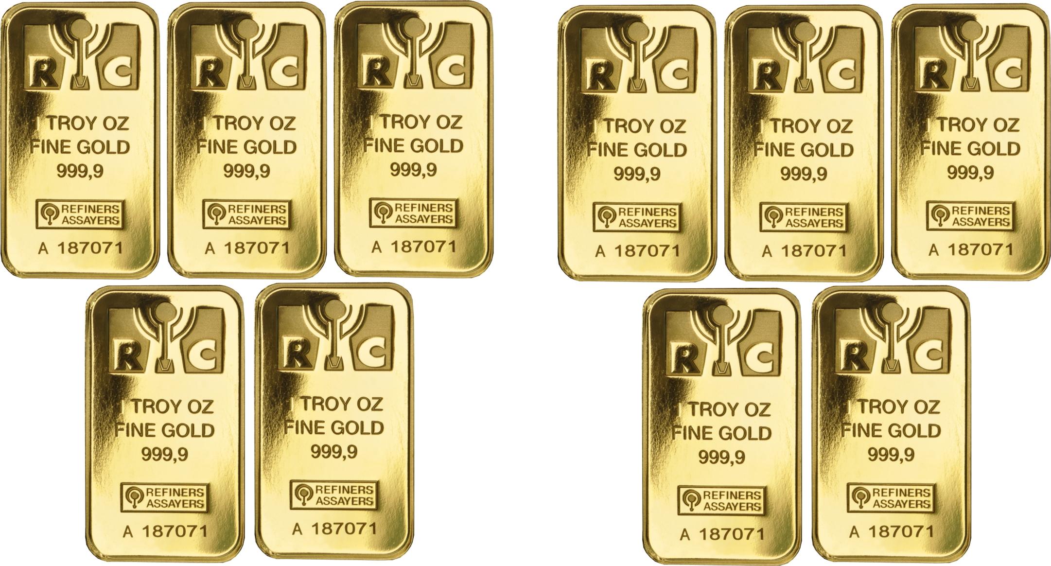 10oz Bundle: 10 x 1oz Gold Bars (Pre Owned)