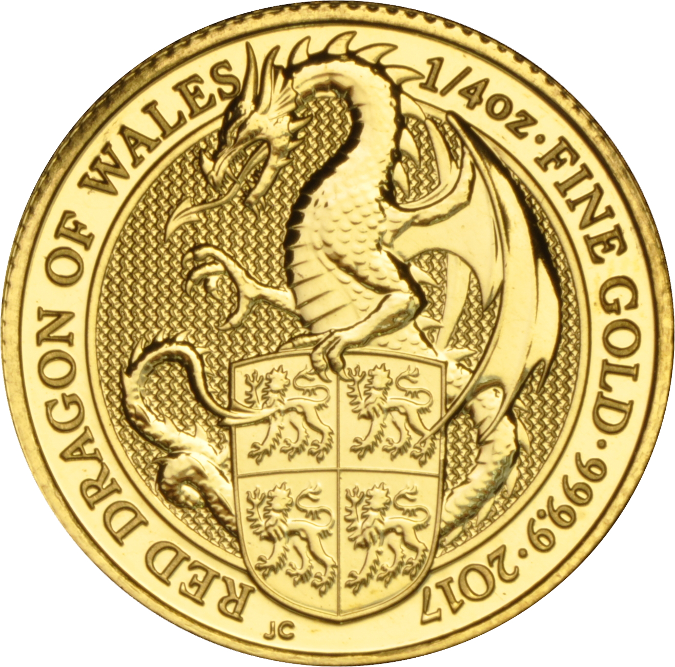 2017 1/4oz Gold Coin, The Red Dragon - Queen's Beast