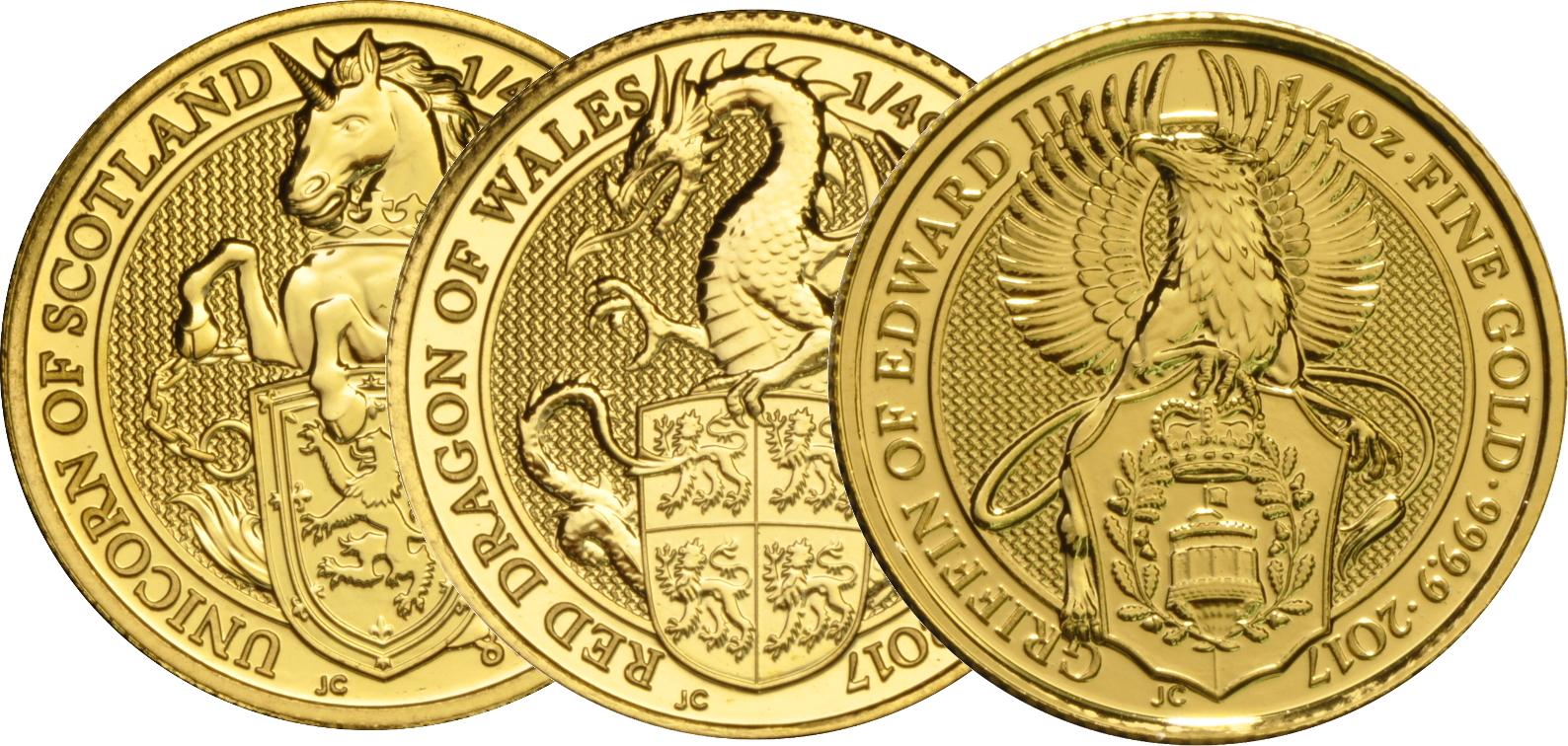 1/4oz Royal Mint Lunar Beasts Series £25 Gold Coins