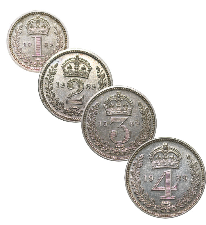 George V 1939 Silver Maundy Set - Uncirculated Boxed