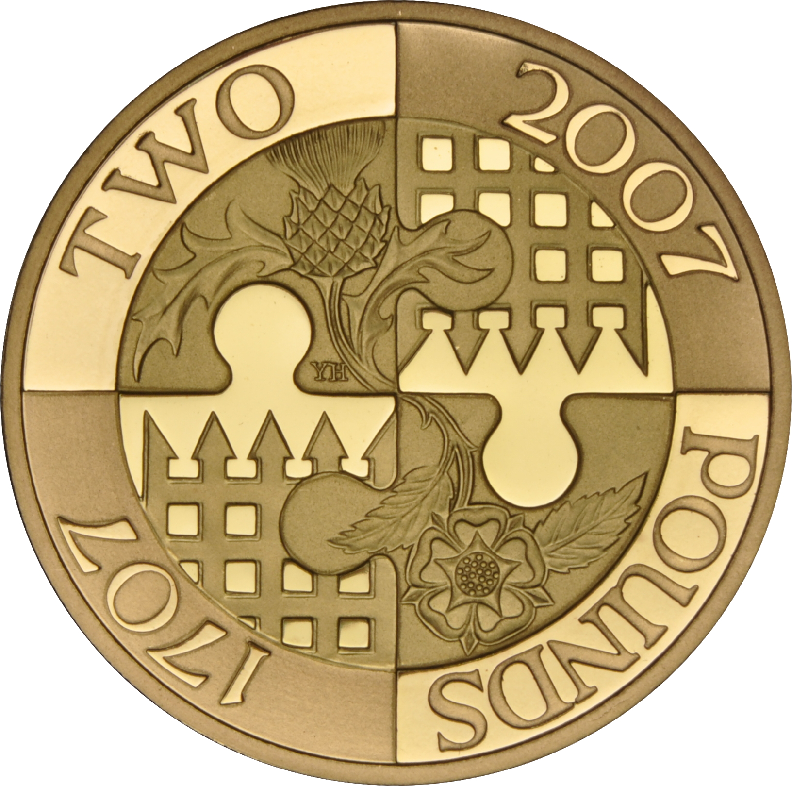 2007 £2 Two Pound Proof Gold Coin: Act of Union