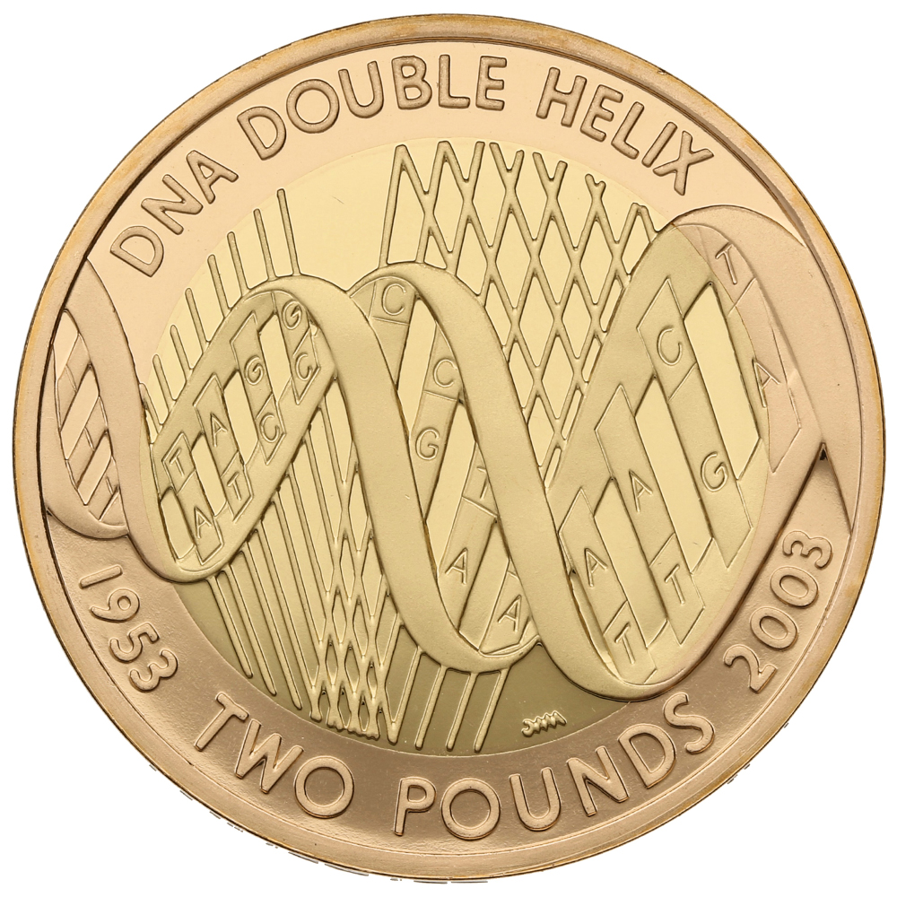 2003 £2 Two Pound Proof Gold Coin: DNA Double Helix
