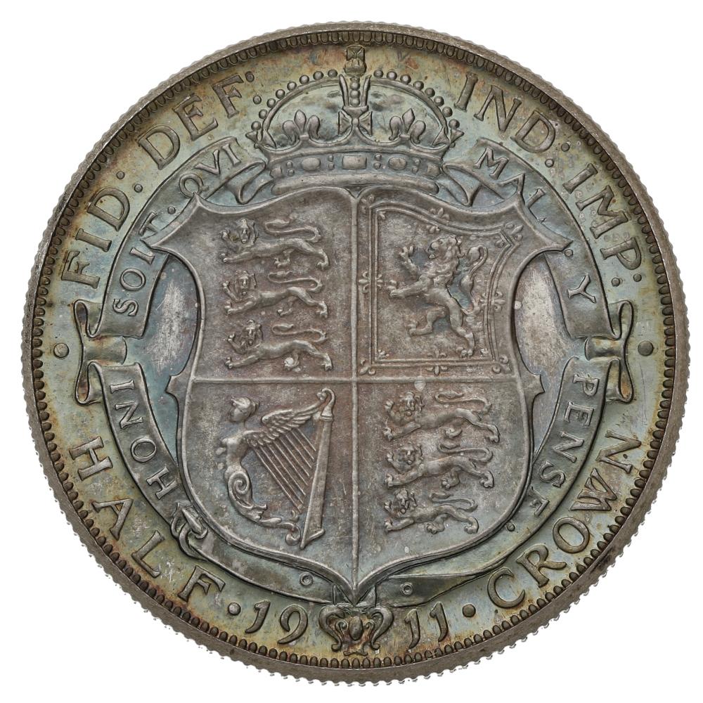 1911 George V Silver Half Crown Proof