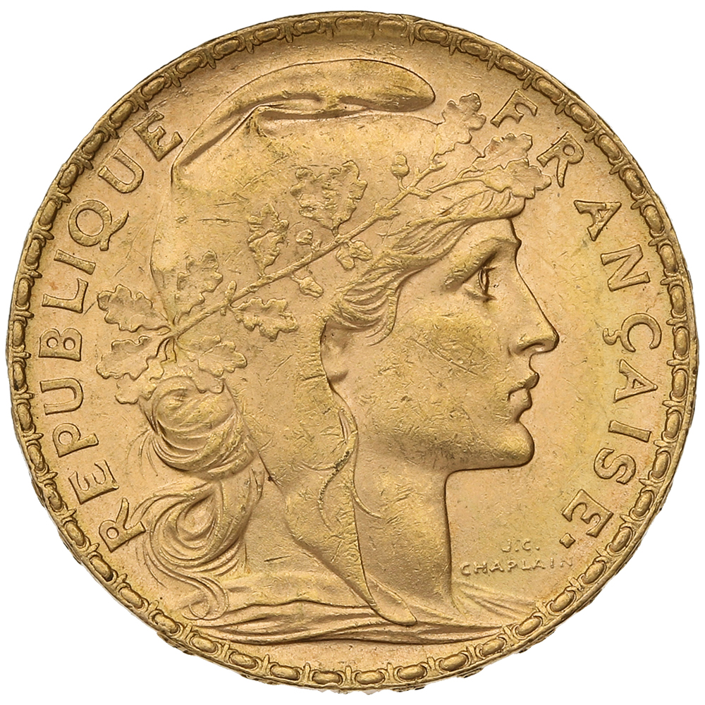 1905 20 French Francs - Marianne Rooster