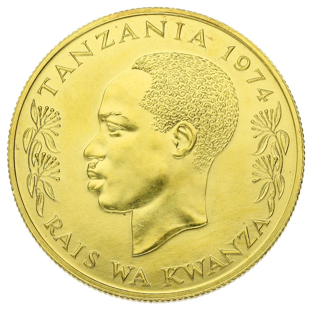 1974 Tanzanian 1500 Shilingi (Shilling)  Gold Coin