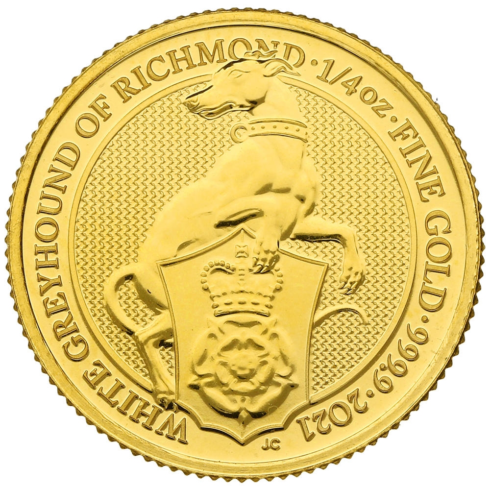 2021 White Greyhound of Richmond, Queen's Beast 1/4oz Gold Coin