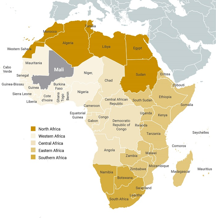 Africa Gold Mining Map