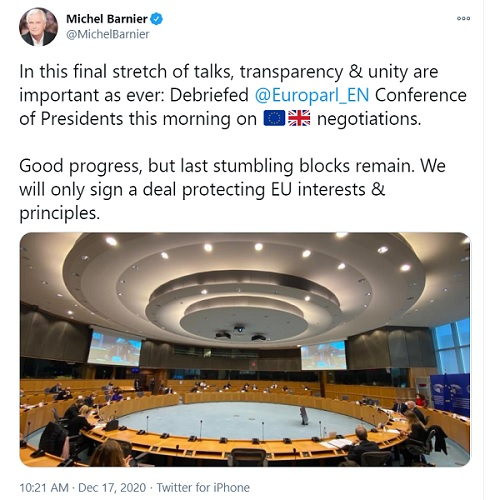 Michel Barnier Tweet