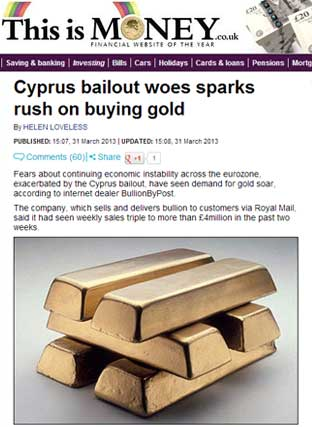 Cyprus Bailout Woes Sparks Rush on Buying Gold