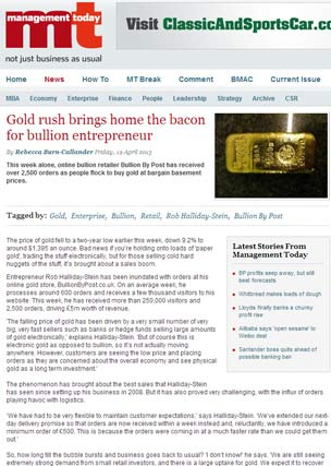 Gold Rush Brings Home the Bacon for Bullion Entrepeneur