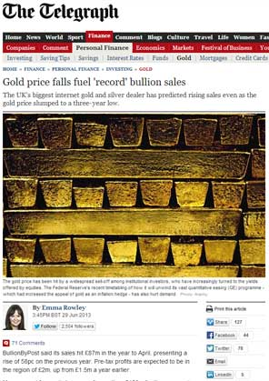 Gold Price Falls Fuel 'Record' Bullion Sales - Telegraph