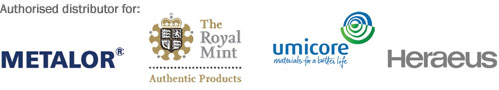 BullionByPost are Authorised Distributors for Metalor, The Royal Mint, Umicore and Heraeus