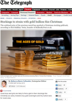 Stockings to strain with gold bullion this Christmas