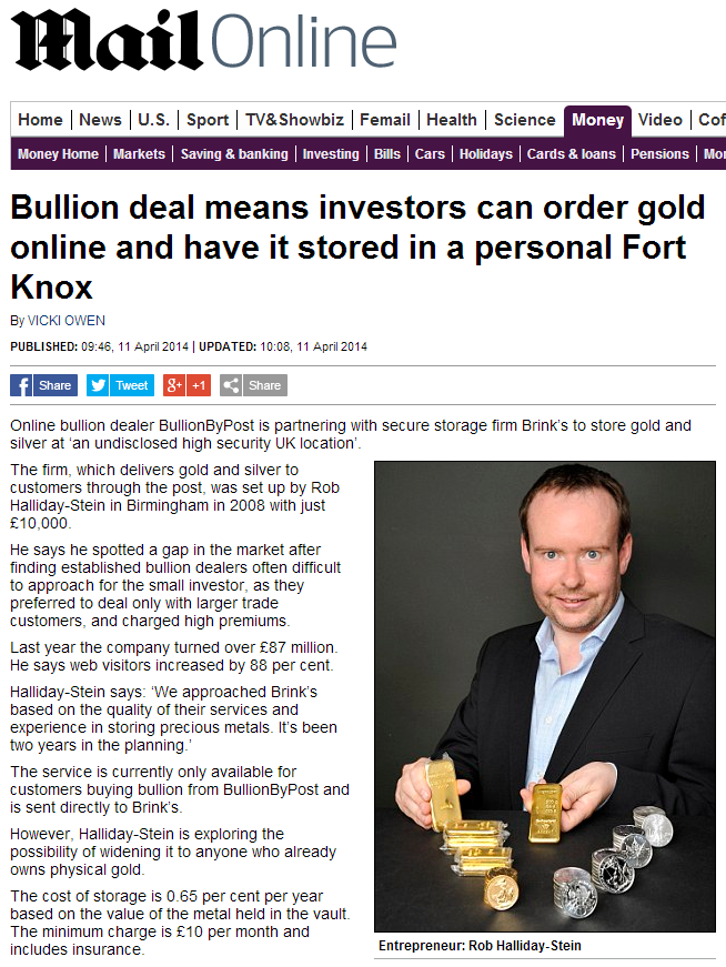 Bullion deal means investors can order gold online and have it stored in a personal Fort Knox