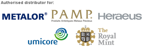 BullionByPost are Authorised Distributors for Metalor, PAMP, The Royal Mint, Umicore and Heraeus