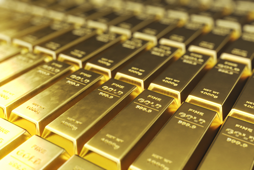 gold bullion bars stacked