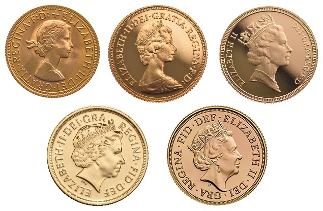 Gold Sovereign coin obverse heads Queen Elizabeth II