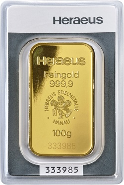 heraeus 100g gold bullion bar
