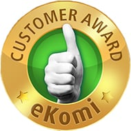 Gold award badge from review site eKomi, given to sites with only excellent customer service.
