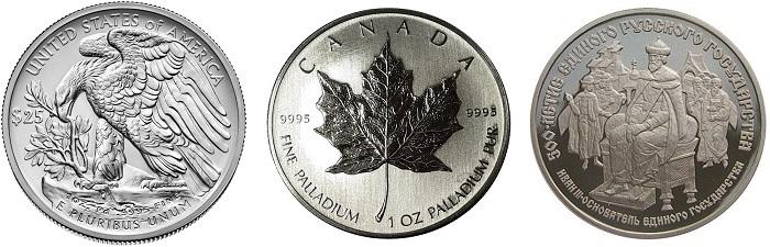 Palladium bullion coins, just one of palladium's uses.