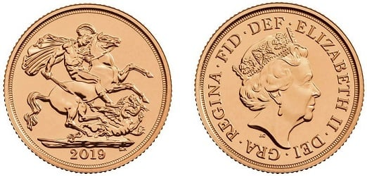 A 2019 Royal Mint bullion Sovereign coin.